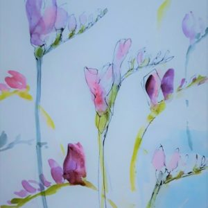 Freesia Study – Greetings Card