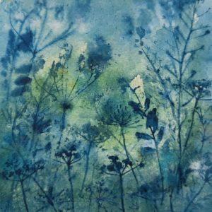 W4 Indigo hedgerow – Original framed watercolour